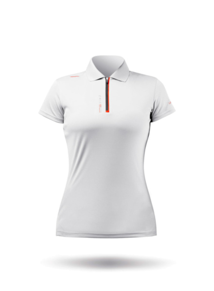 Womens UVActive Zip Sports Polo - White