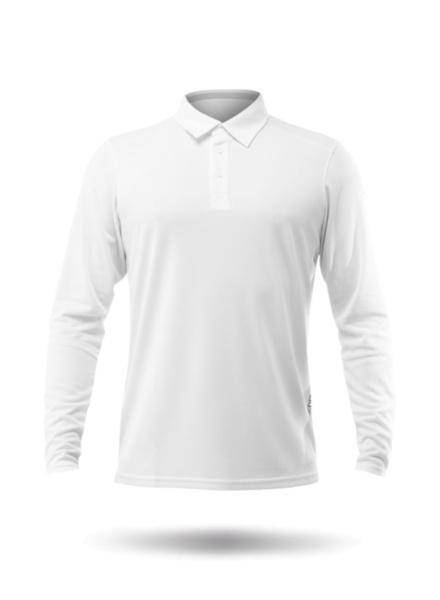 Mens Long Sleeve Zhikdry LT Polo - White-XSS