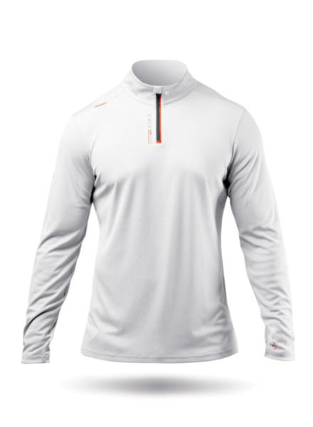 Mens UVActive High Collar 1/4 Zip Top - White-SSS