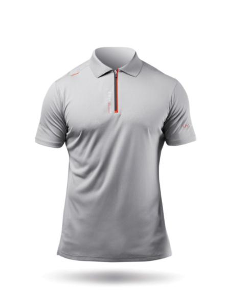 Mens UVActive Zip Sports Polo - Grey-SSS