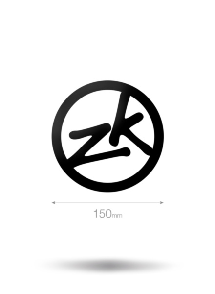 150mm Circle ZK Vinyl Sticker-BK