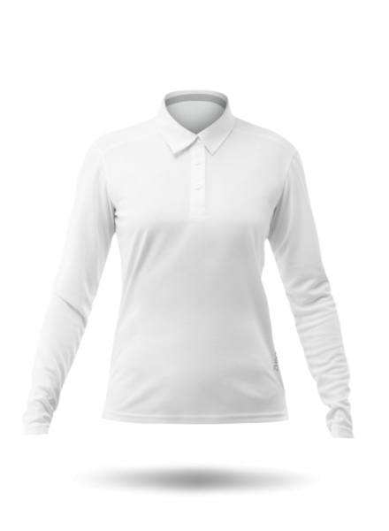 Womens Long Sleeve Zhikdry LT Polo - White-XSS