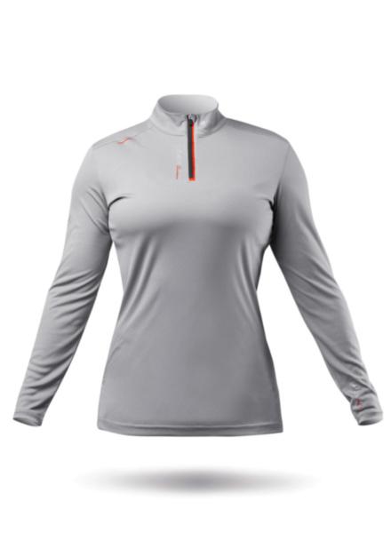 Womens UVActive High Collar 1/4 Zip Top - Grey-XSS