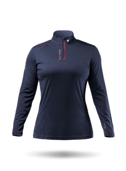 Womens UVActive High Collar 1/4 Zip Top - Navy-XSS