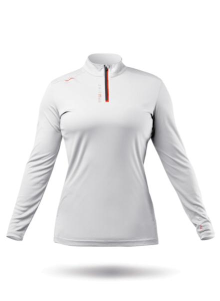 Womens UVActive High Collar 1/4 Zip Top - White