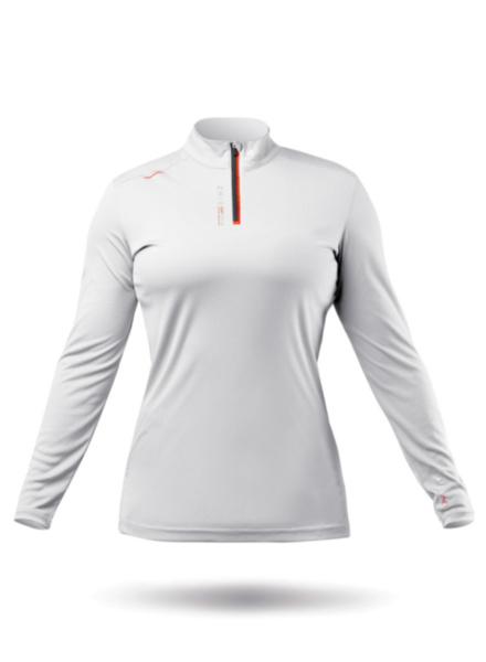 Womens UVActive High Collar 1/4 Zip Top - White-XSS