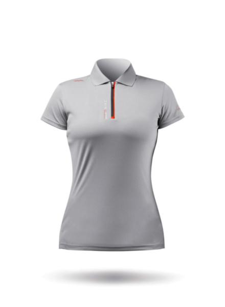 Womens UVActive Zip Sports Polo - Grey-XSS