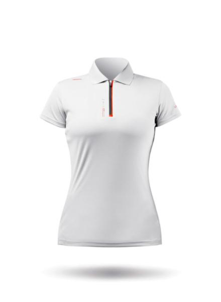 Womens UVActive Zip Sports Polo - White-XSS